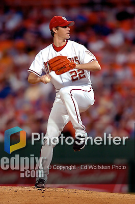 3 September 2005: John Patterson, starting pitcher for the Washington Nationals, on the mound during a game against the Philadelphia Phillies. The Nationals defeated the Phillies 5-4 at RFK Stadium in Washington, DC. <br /><br />Mandatory Photo Credit: Ed Wolfstein.