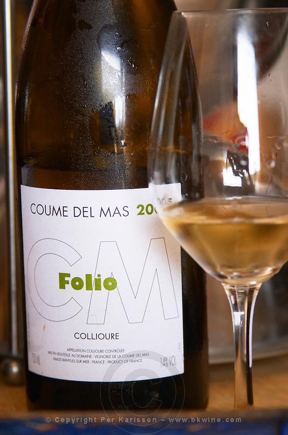 Cuvee Folio. Domaine Coume del Mas. Banyuls-sur-Mer. Roussillon. France. Europe. Bottle. Wine glass.
