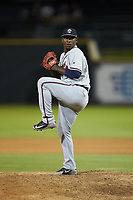Rome Braves relief pitcher Jose Montilla (37) in action against the Columbia Fireflies at Segra Park on May 13, 2019 in Columbia, South Carolina. The Fireflies defeated the Braves 6-1 in game two of a doubleheader. (Brian Westerholt/Four Seam Images)