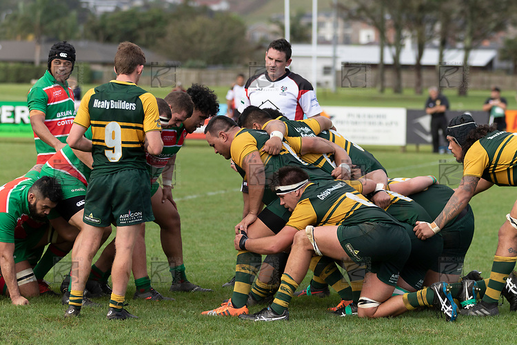 Counties Manukau Premier Club rugby game between Pukekohe and Waiuku, played at Colin Lawrie Fields, Pukekohe on Saturday April 14th, 2018. Pukekohe won the game 35 - 19 after leading 9 - 7 at halftime.<br /> Pukekohe Mitre 10 Mega -Joshua Baverstock, Sione Fifita 3 tries, Cody White 3 conversions, Cody White 3 penalties.<br /> Waiuku Brian James Contracting - Lemeki Tulele, Nathan Millar, Tevta Halafihi tries,  Christian Walker 2 conversions.<br /> Photo by Richard Spranger