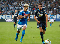 27th October 2019; Stadio Paolo Mazza, Ferrara, Emilia Romagna, Italy; Serie A Football, SPAL versus Napoli; Kevin Malcuit of Napoli challenges for the ball with Francesco Vicari of Spal  - Editorial Use