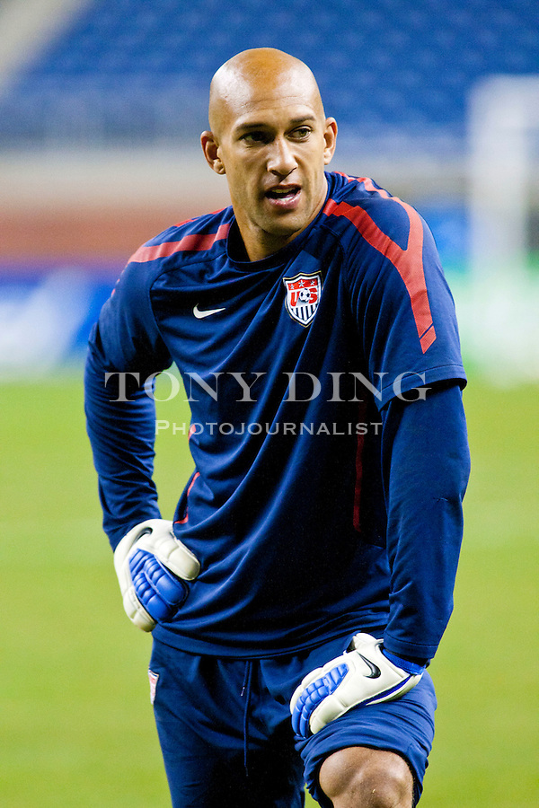 6 June 2011: United States' goalkeeper Tim Howard during Team USA's training session before their match with Canada tomorrow in the first round of the CONCACAF Gold Cup tournament, at Ford Field in Detroit, Michigan. (Tony Ding/Icon SMI)