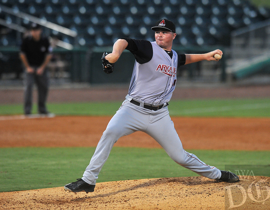 NWA Democrat-Gazette/MICHAEL WOODS &bull; @NWAMICHAELW<br /> Arkansas Travelers pitcher Sean Newcomb fires a pitch Wednesday September 9, 2015, during their game against the Northwest Arkansas Naturals at Arrest Ballpark in Springdale.