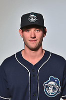Asheville Tourists pitcher Brandon Gold (18) poses for a photo at Story Point Media on April 4, 2017 in Asheville, North Carolina. (Tony Farlow/Four Seam Images)