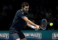 Mate Pavic in action against Pierre-Hugues Herbert and Nicolas Mahut<br /> <br /> Photographer Hannah Fountain/CameraSport<br /> <br /> International Tennis - Nitto ATP World Tour Finals Day 2 - O2 Arena - London - Monday 12th November 2018<br /> <br /> World Copyright &copy; 2018 CameraSport. All rights reserved. 43 Linden Ave. Countesthorpe. Leicester. England. LE8 5PG - Tel: +44 (0) 116 277 4147 - admin@camerasport.com - www.camerasport.com