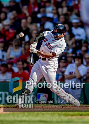 Jun 22, 2019; Boston, MA, USA; Boston Red Sox center fielder Jackie Bradley Jr. connects for a two-RBI double in the second inning against the Toronto Blue Jays at Fenway Park. Mandatory Credit: Ed Wolfstein-USA TODAY Sports