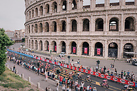 Maglia Rosa / overall leader Chris Froome (GBR/SKY) passing the majestic Colosseum<br /> <br /> stage 21: Roma - Roma (115km)<br /> 101th Giro d'Italia 2018