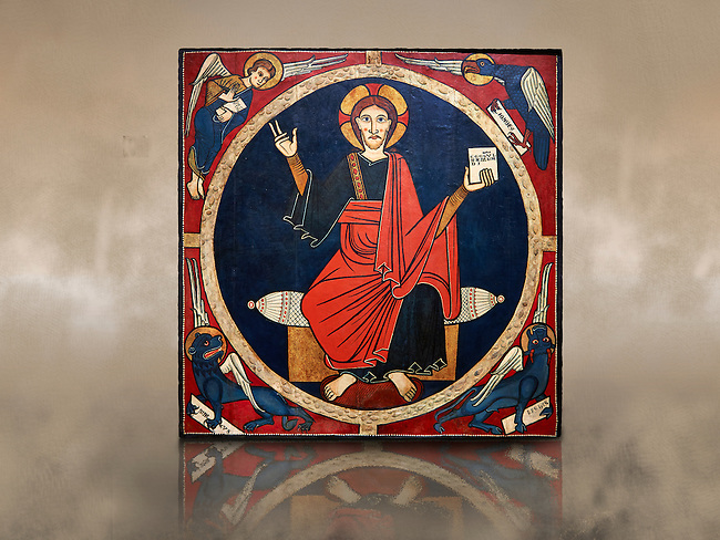 Christ Pantocrator  Wooden Panel from the Church of St. Martin de Tost, Circa 1220<br /> <br /> Tempera with stucco metallic leaf reliefs and on a wood panel.<br /> Church of St. Martin de Tost. Robera of Urgellet, Alt Urgell, Spain<br /> <br /> National Art Museum of Catalonia, Barcelona. Ref: 3905 MNAC<br /> <br /> The wood panel comes from altar of St. Martin de Tost and shows Christ Pantocrator surrounded by the symbols of the four evangelists, St Matthew the man, St Mark the lion, St Luke the ox, and John the eagle. The Tost panel is typical of the Catalan Romanesque painting.