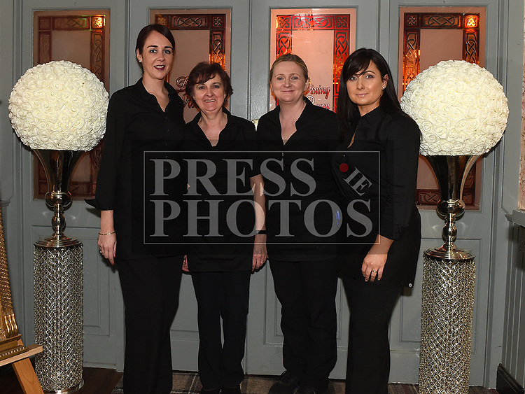 Muldoon's staff Kerry Cavanagh, Deirdre Wheelan, Jenny McElhinney and Louise Duff who looked after everyone at the Ardee Traders Dinner. Photo:Colin Bell/pressphotos.ie