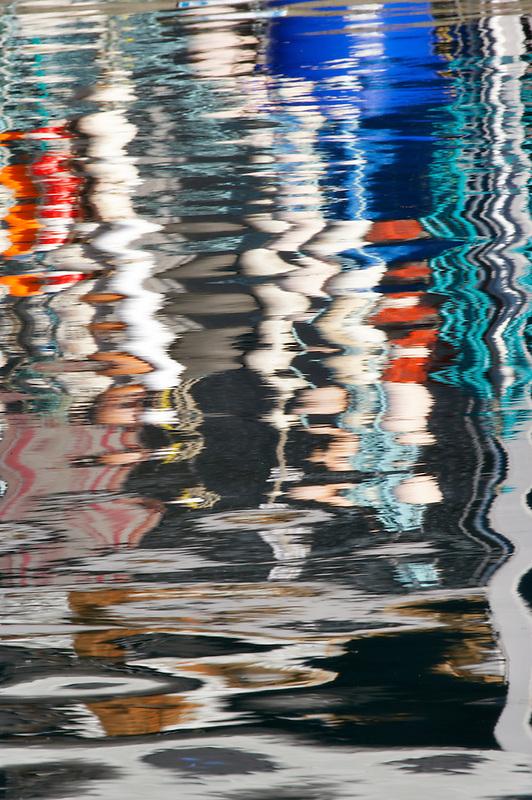 Bouys reflected in harbor water. Garibaldi boat harbor. Oregon