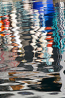 Bouys reflected in harbor water. Garibaldi boat harbor. Oregon