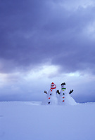 snowman, Vermont, VT, Snowman couple on a snow-covered hill in winter