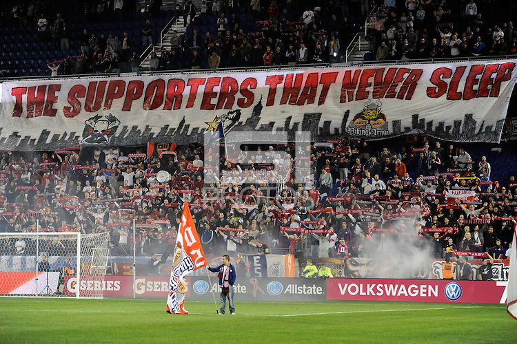 New York Red Bulls supporters. The New York Red Bulls defeated the Philadelphia Union  1-0 during a Major League Soccer (MLS) match at Red Bull Arena in Harrison, NJ, on October 20, 2011.