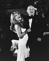 Actress singer Dyan Cannon with Bob Hope during preformance at the Fairmont Hotel in San Francisco.<br />