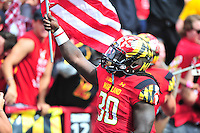 Terrapins' Kenneth Goins pumps up the crowd prior to kick-off against Ohio State at the Capital One Field in Byrd Stadium, College Park, MD on Saturday, October 4, 2014.  Alan P. Santos/DC Sports Box