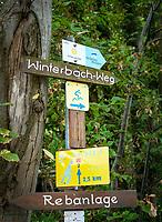 Germany, Baden-Wurttemberg, Northern Black Forest, Sasbachwalden: wine village at Baden Wine Route, hiking trail 'Geniesserpfad', signpost to Winterbach trail | Deutschland, Baden-Wuerttemberg, Nordschwarzwald, Sasbachwalden im Ortenaukreis: Weinort an der Badischen Weinstrasse gelegen, auf dem Wanderweg 'Geniesserpfad', Wanderwegweiser zum Winterbachweg
