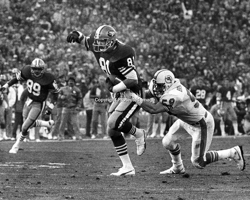 San Francisco 49ers tight end Russ Francis 1985 Superbowl against the Miami Dolphins. (photo/Ron Riesterer)