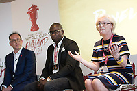 Picture by Charlie Forgham-Bailey/SWpix.com 13/07/2017 - International Rugby League - Rugby League World Cup 2021 - RLWC2017 Presentation at ALTITUDE LONDON, SKYLOFT Millbank Tower, London - The panel L-R Jon Dutton, Martin Offiah, Barbara Slater