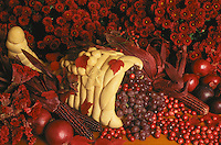 Cornucopia of grapes with red mum flowers, onions, corn, cranberrys