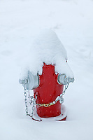 Fire hydrant with snow in Lostine, Oregon