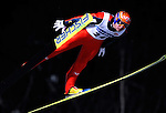 ROAR LJOEKELSOEY of Norway soars through the air during the FIS World Cup Ski Jumping in Sapporo, northern Japan in February, 2008.