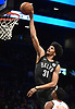Jarrett Allen #31 of the Brooklyn Nets dunks for two points during the second quarter of an NBA game against the Phoenix Suns at the Barclays Center in Brooklyn, NY on Sunday, Dec. 23, 2018.