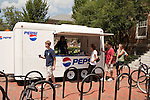 August 20, 2011. Chapel Hill, NC.. Pepsi, the official soda of UNC, set up trucks with free beverages on campus during move in day.. Many companies have increased their efforts to reach the youth market by employing popular college students to raise the awareness of the brand by peer to peer marketing on campus' around the country.