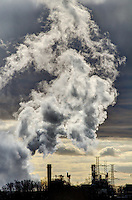 A huge plume of steam is created  and highlighted by strong backlight, when hot air meets cold at Invenergy's, St Clair Energy Centre. The plant, located at the Ladysmith Road and Petrolia Line, is a natural gas-fired combined cycle electricity generating facility with a capacity of 577.0 MW  built in St. Clair Township, Ontario.