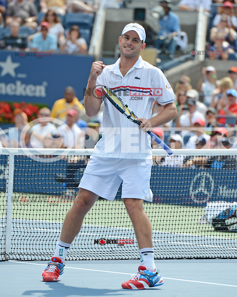 FLUSHING NY- SEPTEMBER 2: Andy Roddick celebrates after first set victory 7-5 over Fabio Fognini on Arthur Ashe stadium at the USTA Billie Jean King National Tennis Center on September 2, 2012 in in Flushing Queens. Credit: mpi04/MediaPunch Inc. ***NO NY NEWSPAPERS*** /NortePhoto.com<br />