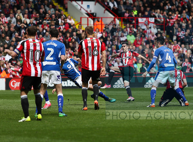 Danny Lafferty of Sheffield United scoring his teams third goal of the game during the English League One match at Bramall Lane Stadium, Sheffield. Picture date: April 30th, 2017. Pic credit should read: Jamie Tyerman/Sportimage