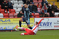 Johnny Hunt of Stevenage makes a great challenge on Byron Moore of Bury during Stevenage vs Bury, Sky Bet EFL League 2 Football at the Lamex Stadium on 9th March 2019