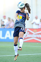 US Women's National forward Alex Morgan (13) warming up prior to the International Friendly soccer match between the USA Women's National team and the Korea Republic Women's Team held at Gillette Stadium in Foxborough Massachusetts.   Eric Canha/CSM