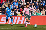 Djene Dakoman of Getafe FC and Nabil Fekir of Real Betis Balompie during La Liga match between Getafe CF and Real Betis Balompie at Wanda Metropolitano Stadium in Madrid, Spain. January 26, 2020. (ALTERPHOTOS/A. Perez Meca)