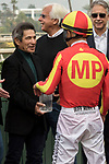 ARCADIA, CA  JANUARY 06: Mike Smith receives congratulations from Lafitte Pincay after winning the Sham Stakes (Grade lll) on January 6, 2018, at Santa Anita Park in Arcadia, CA. (Photo by Casey Phillips/ Eclipse Sportswire/ Getty Images)
