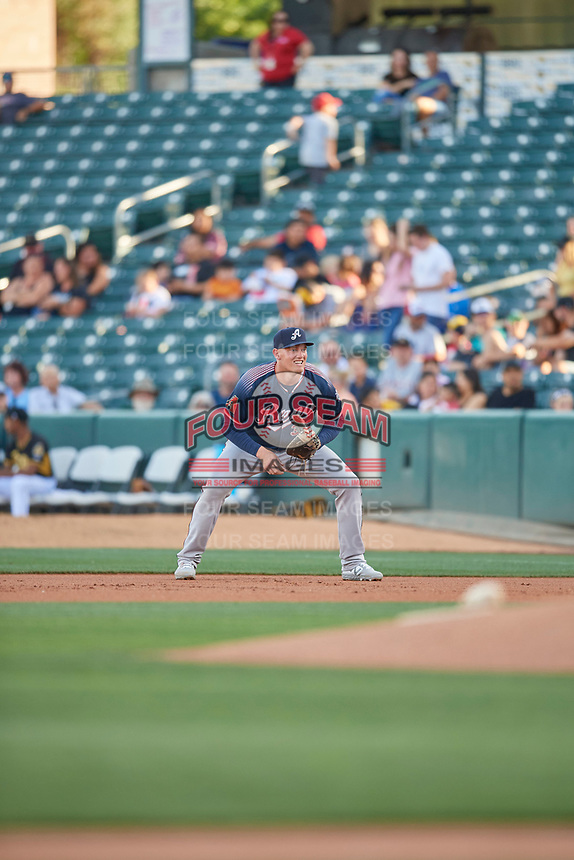 Kevin Cron (35) of the Reno Aces during the game against the Salt Lake Bees at Smith's Ballpark on June 26, 2019 in Salt Lake City, Utah. The Aces defeated the Bees 6-4. (Stephen Smith/Four Seam Images)