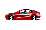 Car driver side profile view of a 2017 Tesla Model S 100D 5 Door Hatchback