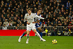 Real Madrid´s Toni Kroos and Deportivo de la Coruna's Celso Borges during 2014-15 La Liga match between Real Madrid and Deportivo de la Coruna at Santiago Bernabeu stadium in Madrid, Spain. February 14, 2015. (ALTERPHOTOS/Luis Fernandez)