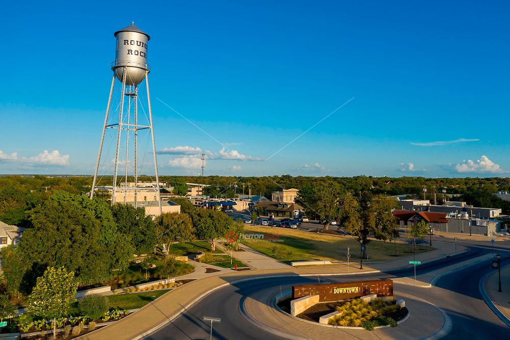Aerial image of Round Rock's Water Tower continues to be an enduring and iconic symbol of faith for the city, named the fastest growing and best city to live in Texas.<br /> <br /> <br /> The Round Rock City Council honored the water tower by proclaiming it a Local Legend. For over two decades, the city's Historic Preservation Commission has issued annual awards to historically important people, places or achievements with ties to the city. This historic water tower is the most famous in Texas.