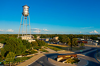 Aerial image of Round Rock's Water Tower continues to be an enduring and iconic symbol of faith for the city, named the fastest growing and best city to live in Texas.<br />