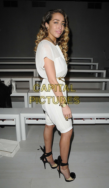 Delilah ( Paloma Stoecker ).The Bora Aksu s/s 2013 catwalk show, London Fashion Week Day 1, Courtyard Show Space, Somerset House, TheStrand, London, England. September 14th, 2012.LFW full length white sheer blouse see through thru black ankle strap shoes cropped trousers gold belt side .CAP/CAN.©Can Nguyen/Capital Pictures.