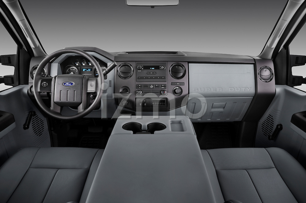 Straight dashboard view of a 2011 Ford F450 Crew Cab.