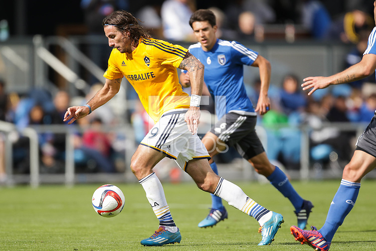 SAN JOSE, CA - February 28, 2015: The San Jose Quakes defeat the visiting LA Galaxy in the first match at Avaya Stadium. The Quakes defeated the Galaxy 3-2.