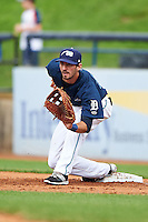 West Michigan Whitecaps first baseman Will Kengor (34) stretches for a throw during a game against the Cedar Rapids Kernels on June 7, 2015 at Fifth Third Ballpark in Comstock Park, Michigan.  West Michigan defeated Cedar Rapids 6-2.  (Mike Janes/Four Seam Images)