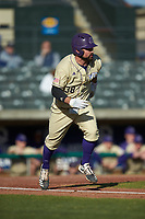Luke Robinson (38) of the Western Carolina Catamounts hustles down the first base line against the Saint Joseph's Hawks at TicketReturn.com Field at Pelicans Ballpark on February 23, 2020 in Myrtle Beach, South Carolina. The Hawks defeated the Catamounts 9-2. (Brian Westerholt/Four Seam Images)