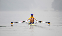 Ottensheim, AUSTRIA.  UKR JW1X, Nataliya DOVGODKO, moves away from the star pontton in her morning semi-final, at the 2008 FISA Senior and Junior Rowing Championships,  Linz/Ottensheim. Friday,  25/07/2008.  [Mandatory Credit: Peter SPURRIER, Intersport Images] Rowing Course: Linz/ Ottensheim, Austria