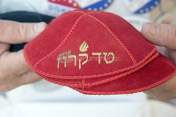 Marc Daniels of Springfield, Illinois, who sells Jewish Campaign Kippahs (yarmulkes), shows off his red &quot;Ted Cruz 2016&quot; kippah on Euclid Avenue near the Quicken Loans Arena, site of the 2016 Republican National Convention in Cleveland, Ohio on Saturday, July 16, 2016.<br /> Credit: Ron Sachs / CNP/MediaPunch<br /> (RESTRICTION: NO New York or New Jersey Newspapers or newspapers within a 75 mile radius of New York City)