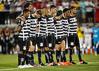 Orlando, FL - Saturday Jan. 21, 2017: Corinthians players wait at midfield and the watch the penalty shootout during the Florida Cup Championship match between São Paulo and Corinthians at Bright House Networks Stadium. The game ended 0-0 in regulation with São Paulo defeating Corinthians 4-3 on penalty kicks.