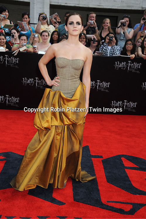 """Emma Watson arriving to the"""" Harry Potter and the Deathly Hallows- Part 2""""  North American Premiere on July 11, 2011 at Avery Fisher Hall in Lincoln Center in New York City."""