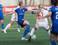 Seattle, WA - Saturday July 16, 2016: Kim Little, Makenzy Doniak during a regular season National Women's Soccer League (NWSL) match between the Seattle Reign FC and the Western New York Flash at Memorial Stadium.