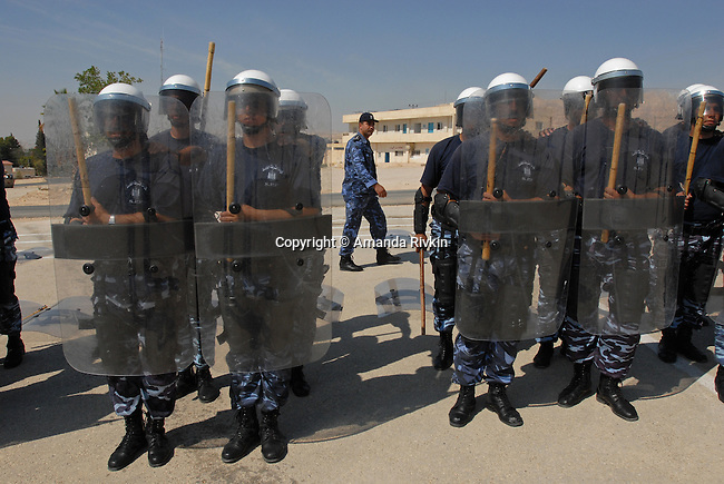 Palestinian police train in an exercise funded by the European Union and attended by Western journalists from several European nations at a site in Jericho, West Bank, Israel on May 27, 2008.